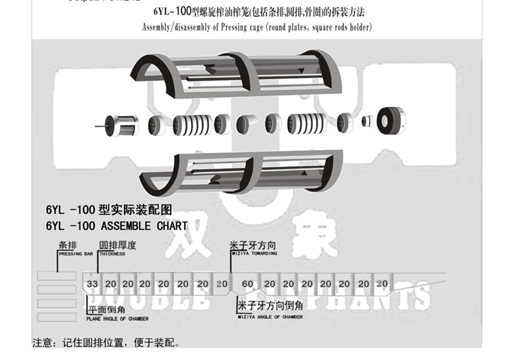 6YL-100型螺旋榨油机榨笼(包括条排,圆排,骨圈)的撤装方法